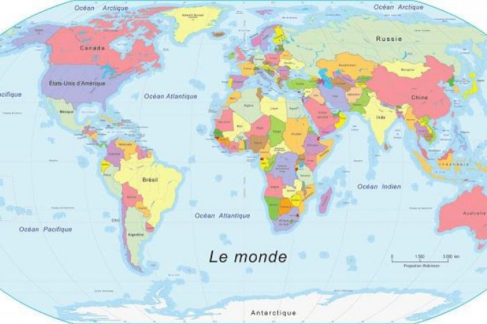 carte du monde france La carte du monde vue depuis la France | Planet